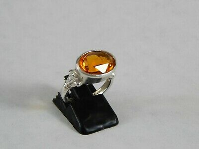 Beautiful 925 Sterling Silver Golden Orange Honey Color Citrine Ring Size 7.25