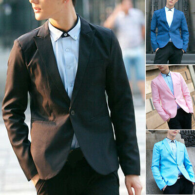 Fashion Mens Suit Coat Regular Blazer One Button Business Casual Jacket Outwear