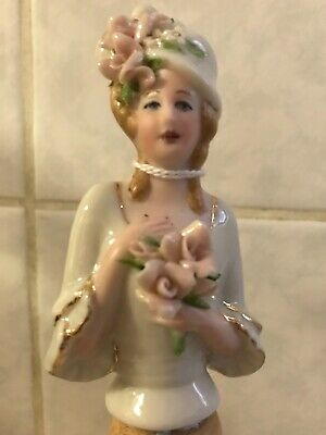 BeautifulPorcelain Half Doll NEW pale pink roses on cream/white colour doll
