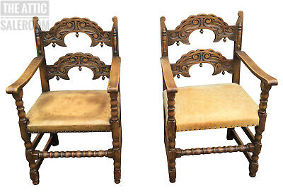 Charming Antique Jacobean Style Carved Oak & Leather Chairs