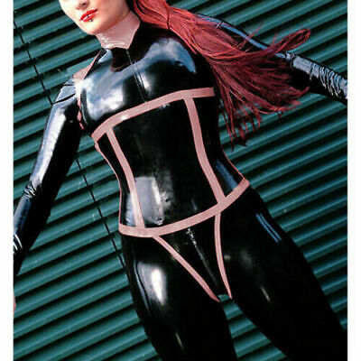 Latex Catsuit Rubber Gummi Main Black Front Pink Trim Bodysuit Customized 0.4MM
