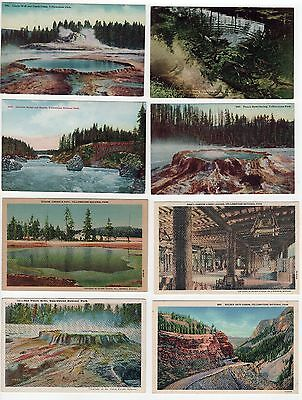 YELLOWSTONE NATIONAL PARK PC Postcard Lot WYOMING NPS Pool RAPIDS Castle LODGE
