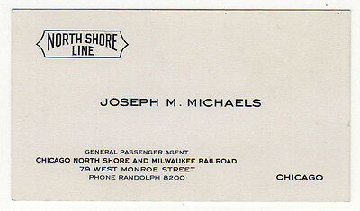 VINTAGE BUSINESS CARD North Shore Line CHICAGO MILWAUKEE RAILROAD RR Train AGENT