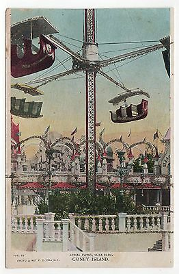 Coney Island PC Postkarte New York City Freizeitpark Luna Park Areal Schwingende