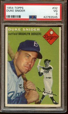 1954 Topps Baseball Card #32 Duke Snider Brooklyn Dodgers PSA 3 VG