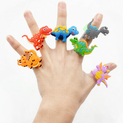 6Pcs Environmental silicone Cartoon Dinosaur PVC Rings Child Party Favour Gifts