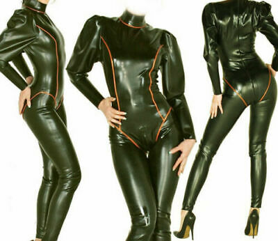 Latex Catsuit Rubber Gummi Sexy Bodysuit Wet Look Club Wear Cut Customized 0.4MM
