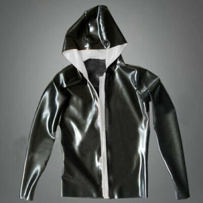 Latex Catsuit Rubber Gummi Casual Sexy Cool Front Zip Hoods Tops Customized .4MM