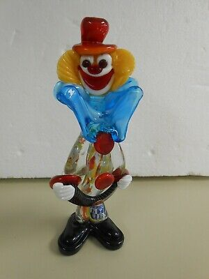 Vintage Murano Art Glass Clown Figurine Playing Accordion with Tags EUC