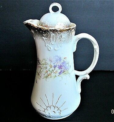 VINTAGE DRESDEN HAND PAINTED EMBOSSED PORCELAIN  ~ COCOA POT, c.1930