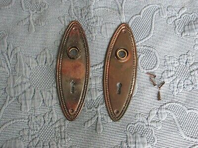 Pair of Antique Victorian Door Knob Covers with Keyhole & Old Copper Wash Finish