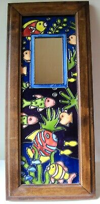 Painted stained glass panel with mirror; underwater scene; wood frame