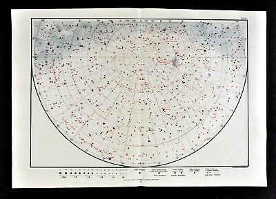 1925 Star Map Astronomy Chart South Sky Southern Hemisphere Constellations Stars