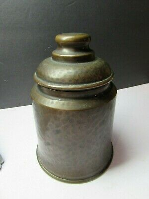 Vintage Arts And Crafts Hammered Copper Covered Jar