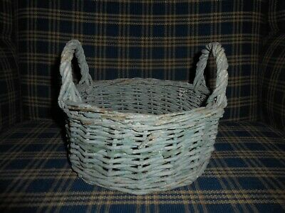 Early Primitive  Basket with old blue paint