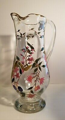 Mid-Century Crystal Hand Crafted and Painted Tall Pitcher - Gold Gilded