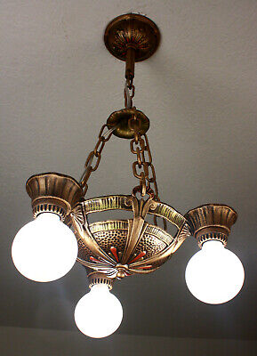 20's VINTAGE ANTIQUE LINCOLN Art Deco 5 LIGHT CEILING CHANDELIER~Set Available