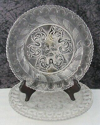 Antique Boston & Sandwich Peacock Eye & Thistle Lacy Flint Pressed Glass Plate