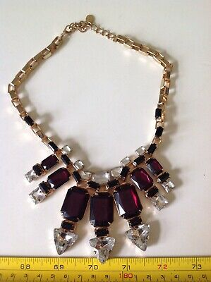 Retro Chunky Red Gold Coloured Statement Necklace 80s Vintage Costume Jewellery