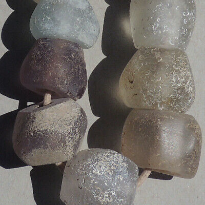 13 large old antique dutch glass beads senegal mali african trade 1700's #41