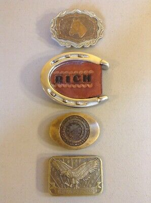 LOT OF 4 VINTAGE METAL BRASS ADVERTISING BELT BUCKLES-  Horseshoe Eagle Horse