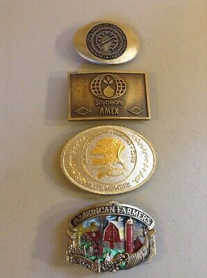 LOT OF 4 VINTAGE METAL BRASS ADVERTISING BELT BUCKLES-  Farming Hunting