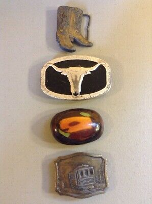 LOT OF 4 VINTAGE METAL BRASS ADVERTISING BELT BUCKLES-  Cowboy Boots Bull Train