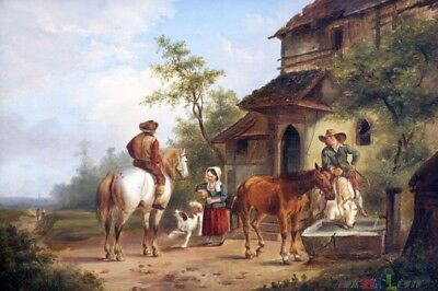 """perfect oil painting handpainted on canvas """"horsemen outside a tavern""""@N13844"""