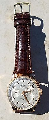 18K ARISTON CHRONOGRAPHE SUISSE WRISTWATCH-17J CAL 51-de Beer BROWN CROC BAND!