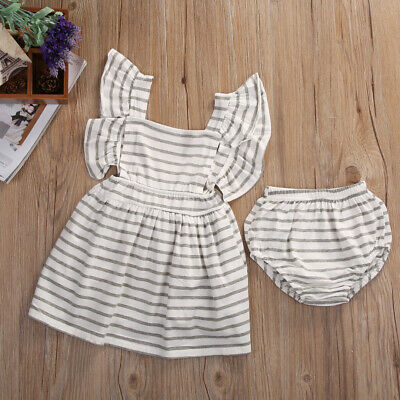 2pcs Newborn Baby Girl Dress Infant Bowknot Dress+Shorts Bottom Clothes Outfit