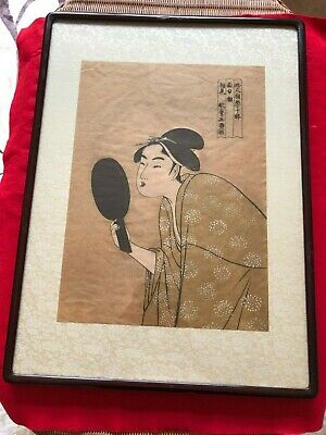 Original Japanese Woodblock Print, Utamaro ,Ukiyo-e With frame
