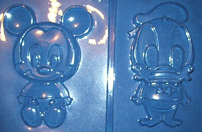 BABY MICKEY MOUSE & BABY DONALD DUCK CHOCOLATE MOULD OR PLASTER MOULD - 2 pc set
