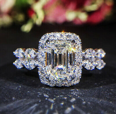 Luxury Princess Cut White Topaz Engagement Ring 925 Silver Wedding Jewelry Gifts