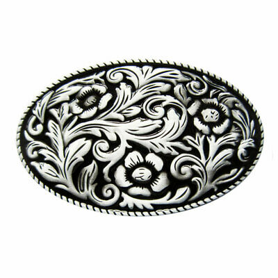 Western Cowgirl Buckle with Floral Pattern, Belt Buckle