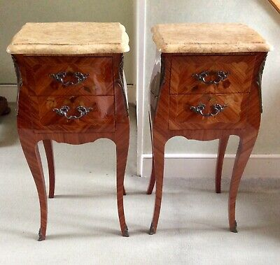 Pair Of Antique French Marble Top Marquetry Bedside Cabinets Or Table De Nuits