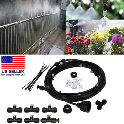 6Pc Cooling Mister Kit Air Water Tubing Mist Brass Nozzle Outdoor Patio Ai 20FT