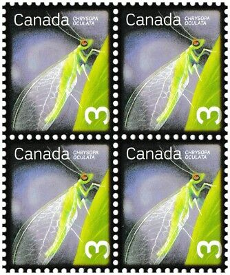 Canada 2235 Beneficial Insects Golden-eyed Lacewing 3c block (4 stamps) MNH 2007