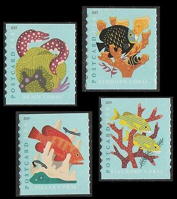 US 5367-5370 Coral Reefs Postcard set (4 stamps from coil of 100) MNH 2019