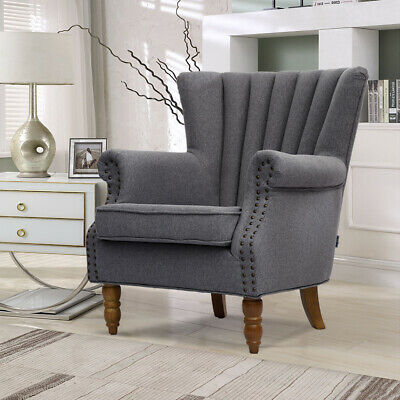 Occasional Wing Chair High Back Fabric Tub Armchair Fireside Living Room Grey