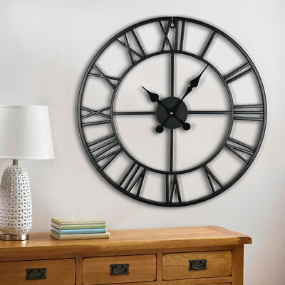 60CM Luxury Large Wall Clock Metal Skeleton Roman Numerals Clock Garden Indoor