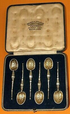 Wilson and Sharp Antique (1937) Silver Coffee Spoons in box