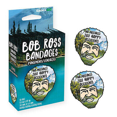 BOB ROSS Gamago Adorably Cute Latex Free Adhesive Bandages With Peggable Box