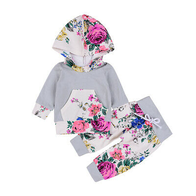 Newborn 0-24M Baby Kids Girls Clothes Floral Hooded Tops+ Long Pants Outfits Set