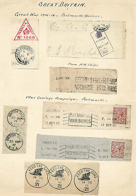 1914-18 Great War Postmarks x7 inc FEED THE GUNS & BRITISH TANKS both CDS