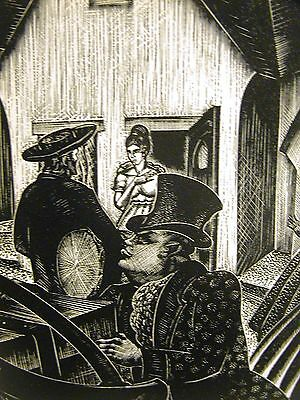 Lynd Ward 1930 SLAVE TRADER RETURNS HOME w AFRICAN DRUM Art Deco Print Matted