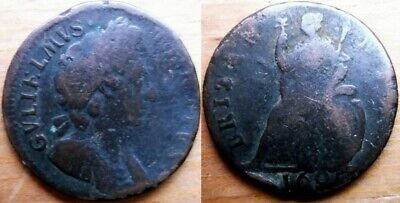 1695 Great Britain UK England Britannia Farthing Coin- William III (n2)