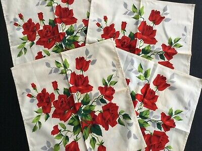 Vintage Set of 4 Red Rose Linen Napkins - Appear unused. Stained from Storage