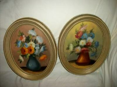Vintage Floral Oil Paintings Oval Pair Estate Cottage Chic Shabby Mid Century