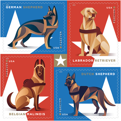#5405 - 5408a 2019 Military Working Dogs Block/4 - MNH