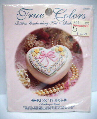 Ribbon embroidery kit - Feathery Heart - box top series